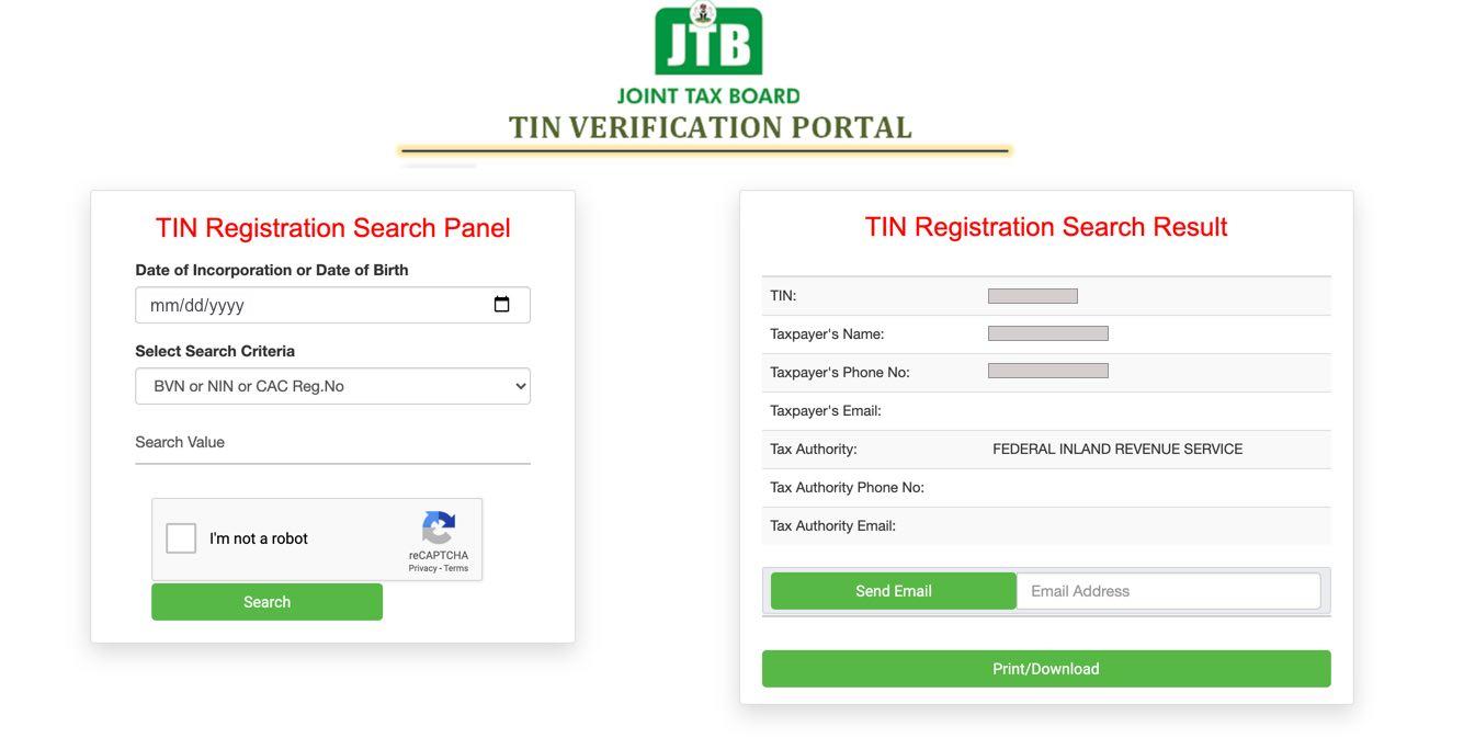 Joint Tax Board TIN Verification